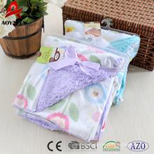 rosto impresso micromink sherpa sólido bonito de volta cobertor do bebê de malha
