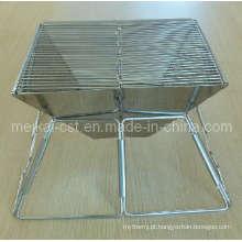 Grelha dobrável leve de aço inoxidável a carvão (uso externo)