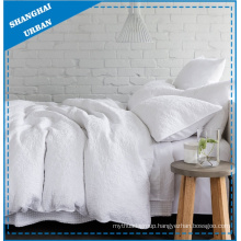 White Quilted Design Polyester Duvet Cover Set