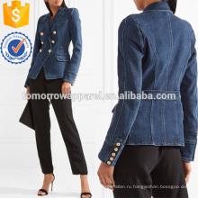 Двубортный джинсовый пиджак оптом производство модной женской одежды (TA3031C)