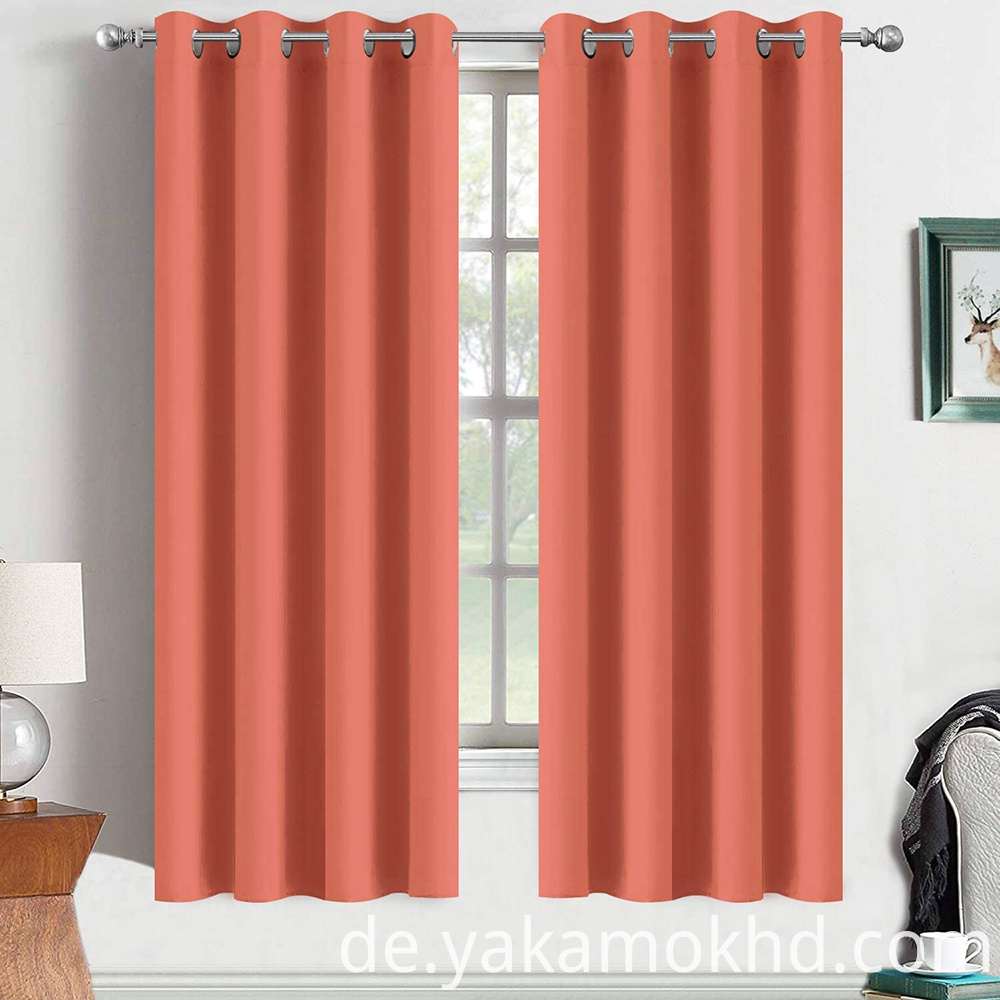 Coral Blackout Curtains 63 Inch Long