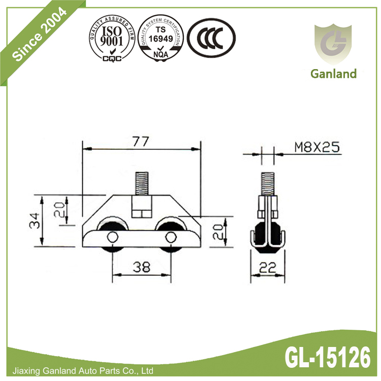 steel sliding 4 wheels roller gl-15126