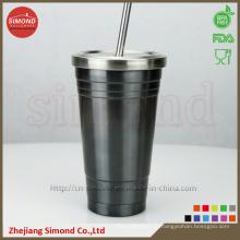 Вакуумная чашка из нержавеющей стали 500 мл с металлической соломой