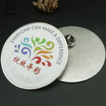 Emblema redondo do botão do metal do Pin da lapela do presente relativo à promoção do logotipo da impressão feita sob encomenda