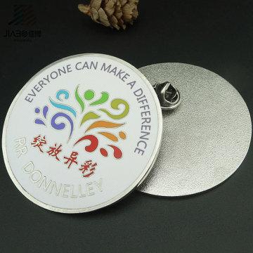 Le logo promotionnel fait sur commande promotionnel rond insigne de bouton en métal de revers de cadeau