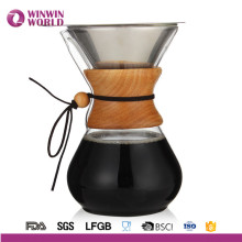 Pour Over Coffee Maker With Borosilicate Grass Carafe And Reusable Stainless Steel Filter