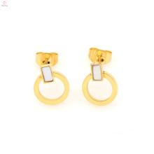 Neue Design Edelstahl Gold Schleife Ohrringe, Gold-Kreis Ohrringe für Frauen Schmuck