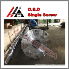 Exhaust vented screw & barrel for recycled plastic pelletizing