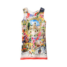 Wholesale Chinese Girls' Kid Dress Colorful Printed 7,6,5,4,3,2 Year Old Girl Dress