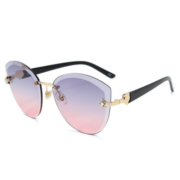 Luxury Rimless Cat Eye Sunglasses Women Italy Brand Designer Gradient Sun Glasses