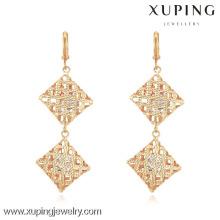 90630 xuping ladies jewelry gold designs inlay zircon earrings