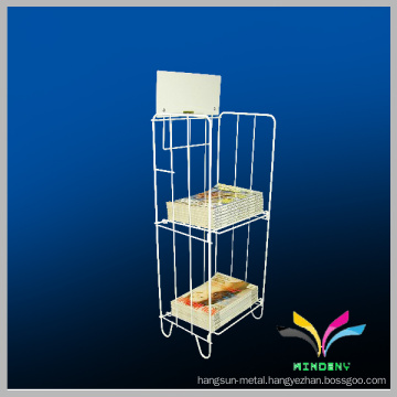 Counter style black wire metal display magazine rack with sign holder