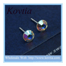 Alibaba site bijoux à plat arrière petite boucle d'oreille en cristal sterling colorée en argent sterling