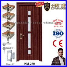 Entrance Bedroom Glass Inserted Wooden Door
