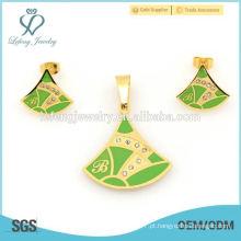 Personalizado verde e ouro em aço inoxidável conjuntos de jóias, design de moda muito barato define em alibaba