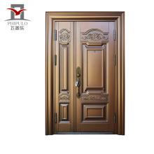 Porta de aço de entrada de imitação de cobre corrosão com design de portão principal