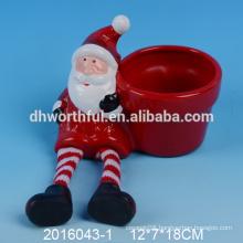 Lastest style ceramic christmas flower pots,ceramic santa flower pot
