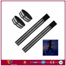 Pulseira reflexiva preta de segurança para brincos / braçadeiras reflexas em poliéster elástico