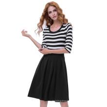 Belle Poque Retro Vintage Black Style Stripe Pattern 3/4 Sleeve Crew Neck A-Line Women Dress BP000316-1