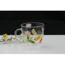 Clear Glass Water Cup with Ear (KL11041-7B)