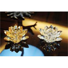 Castiçal de cristal de forma de flor de lótus para decoração