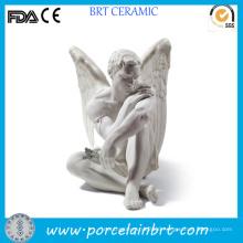 Meditation Ceramic Nude Male Angel Sculpture