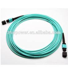 Preço de fábrica 4 8 12 24core MPO / MTP OM3 cabo de correção de fibra óptica 10G / jumper, cabo de fibra óptica de vidro