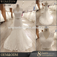 New 2017 Beaded Wedding Dress Mermaid Lace Applique Bridal Dress Backless Wedding Gown