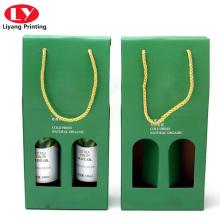 Botella de vino verde doble set caja de embalaje