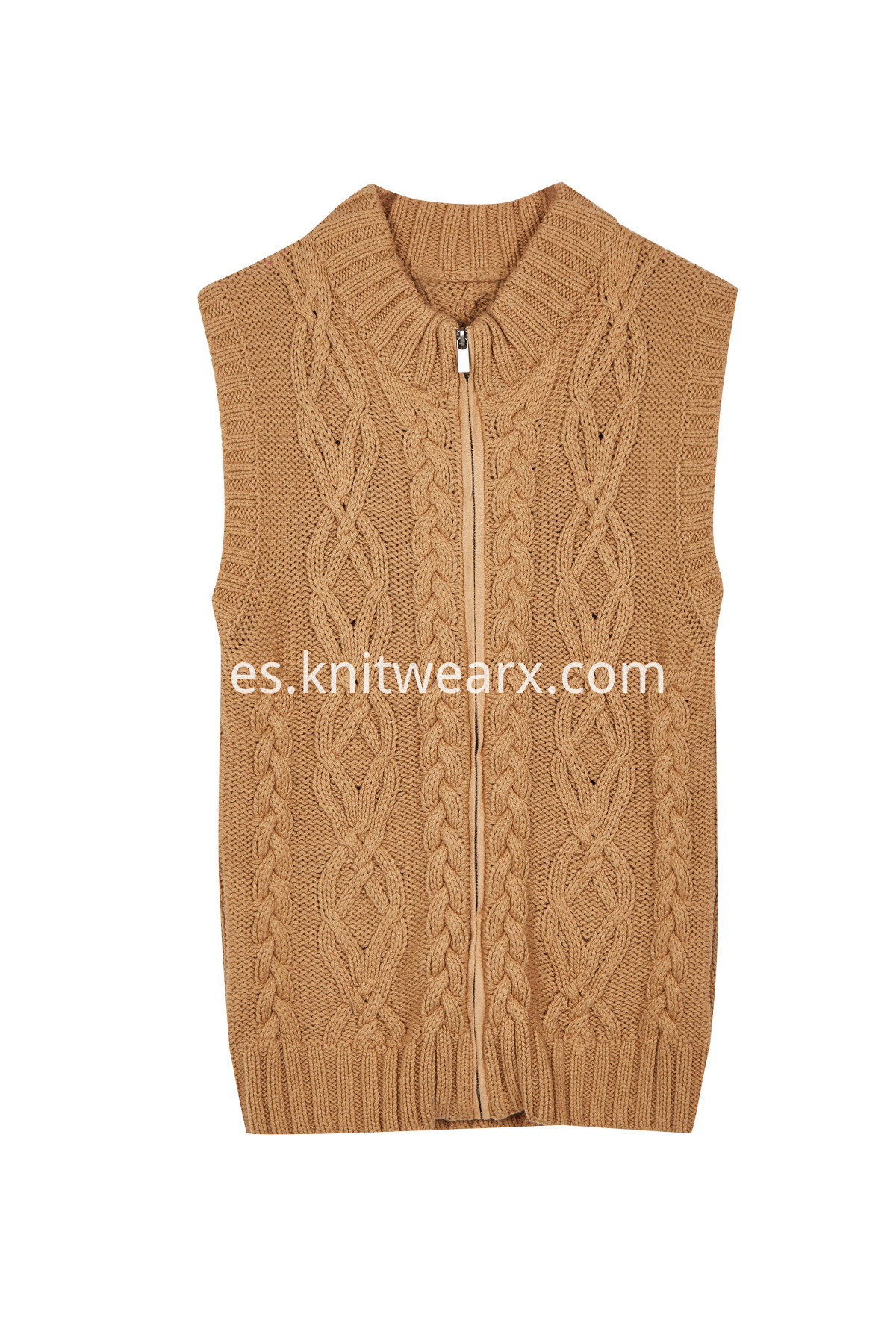 Women's Warm Sweater Vest Front Zip Cable Knit Cardigan Outwear