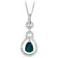 14k White Gold Over Silver Emerald Pear Diamond Pendant