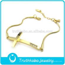 Nuevo diseño personalizado 18 K oro cadena fina Hallmark acero inoxidable para mujer cristal cruz pulsera para muñeca hecha en China