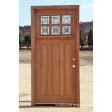 6 Panel Glass Walnut Veneer Solid Wood Exterior Wood Doors