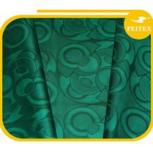 Mode Vert Conception Tissu Africain Vêtement Guinée Brocade Coton Fil Matériel Bazin Riche Textiles Doux Chine Usine Feitex