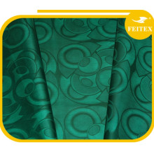 Fashion Green Design Fabric African Garment Guinea Brocade Cotton Yarn Material Bazin Riche Soft Textiles China Factory Feitex