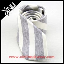 Gray White Striped Silk Linen Mixed Unique Ties for Men