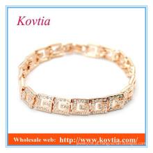 A VENDA QUENTE pavimenta inteiramente o ouro africano do cristal chapeou os acessórios dos homens dos braceletes da ligação
