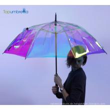 Topumbrella 2018 neue Erfindung Design Rainbow klar Hochzeit Geschenk Regenschirm für Hochzeitsgäste