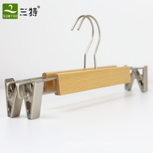 OEM natural color beech wood trousers pants hanger with clips
