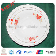 cheap ceramic cut edge meat plate with GGK and flower