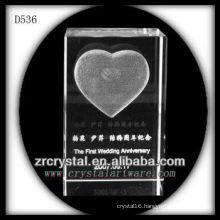 K9 3D Laser Subsurface Love Inside Crystal Rectangle