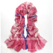 Printemps 2012 100% laine tartan écossais rose pashmina écharpes longues