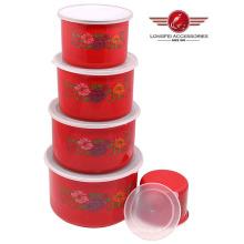 Tigela de armazenamento de esmalte de cor vermelha 5PCS alto conjunto com tampa de PP