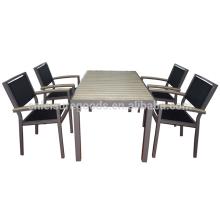 Outdoor morden plastic wood aluminium furniture balcony table