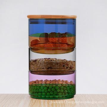 500ml glass jar wooden lid green gold black empty glass jar price