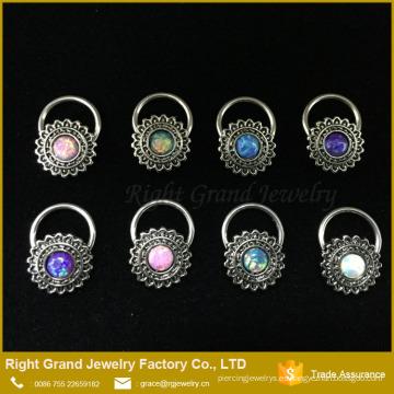 El anillo del pezón del mejor amigo por encargo del pezón suena la joyería del pezón piercing del ópalo de la flor