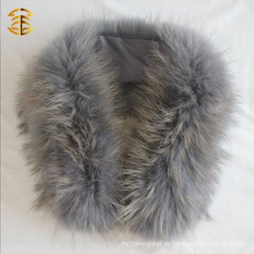 Mode echt grau echte Waschbär Pelz Wrap für Frauen