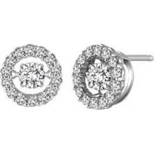 925 Stud Earrings Silver Dancing Diamond Jewelry