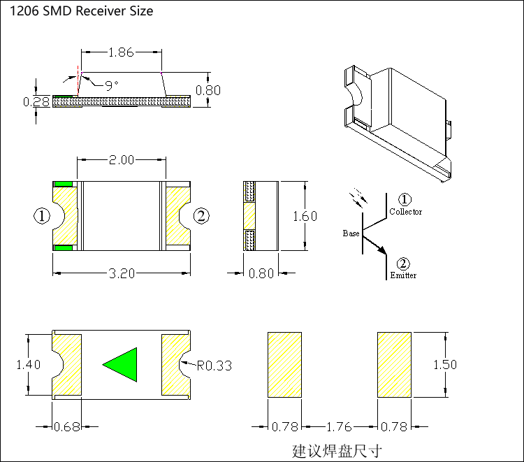 1206 smd 850nm receiver size