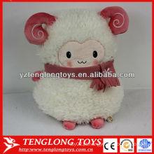 Lovely rosa enchido ovelha em forma de travesseiro plush morno de mão